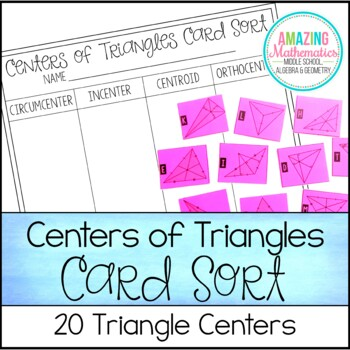 Centers of Triangles Card Sort