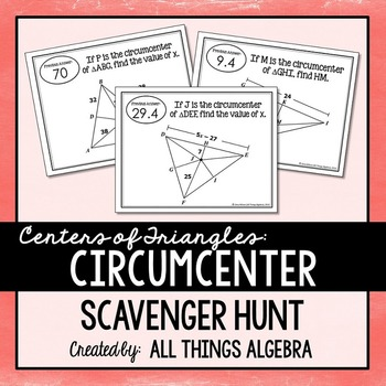 Centers of Triangles (Circumcenter) Scavenger Hunt