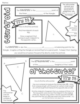 Centers of Triangles Doodle Notes