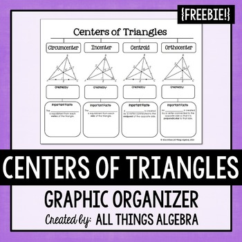 centers of triangles graphic organizer by all things algebra tpt. Black Bedroom Furniture Sets. Home Design Ideas