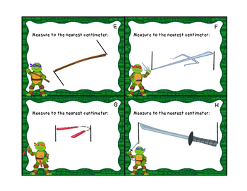 Ninja Turtles Centimeter Measurement Task Cards