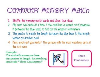 Centimeter Memory Match--Measurement Math Workstation