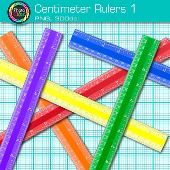 Centimeter Ruler Clip Art {Rainbow Measurement Tool Graphics for Math} 1