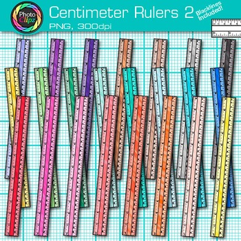Centimeter Ruler Clip Art {Rainbow Measurement Tool Graphics for Math} 2