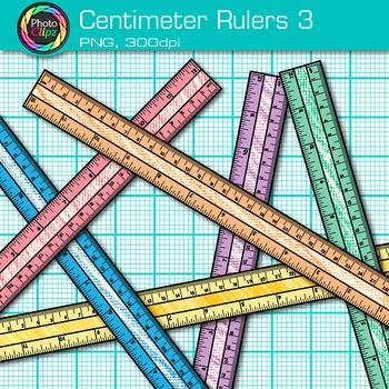 Centimeter Ruler Clip Art {Rainbow Measurement Tool Graphics for Math} 3