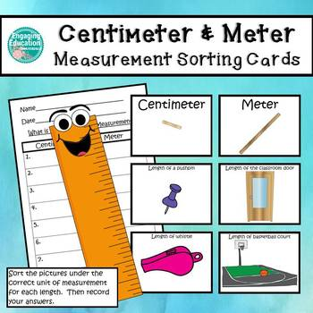 centimeter and meter unit of measurement sorting cards tpt
