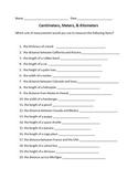 Centimeters, Meters, & Kilometers Worksheet
