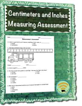 Centimeters and Inches Measurement Assessment