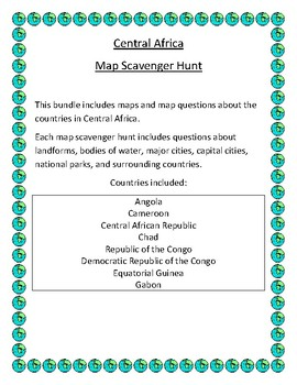 Central Africa Map Scavenger Hunt
