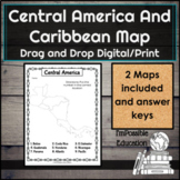 Central America Caribbean Map Label Drag and Drop or Print (Distance Learning)