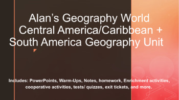 Central America/Caribbean + South America Geography Unit Bundle Materials