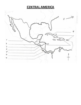 Central America Map Blank By Pointer Education Tpt