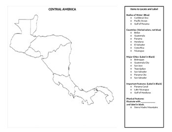 Central America Mapping Activity