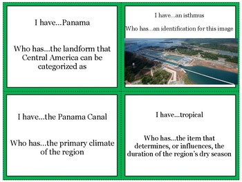 Central America's Physical Geography Review Game: I Have Who Has
