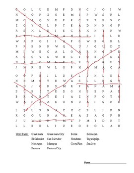 Central America word search and map questions.