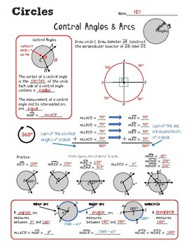 10th Grade Worksheet Central Angles And Arcs Geometry Cp ...