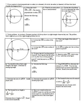 Central Angles Arc Measures and Chords Spring 2013 (Editable)