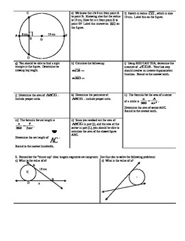 Central Angles Arc Measures and Chords Spring 2014 (Editable)