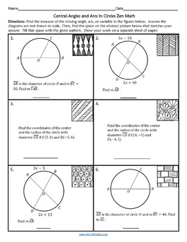 Central Angles and Arcs in Circles Zen Math