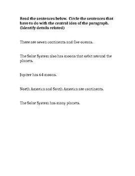 Central Idea/Details - The Solar System