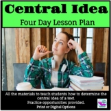 Central Idea Four Day Lesson Plan for Distance Learning