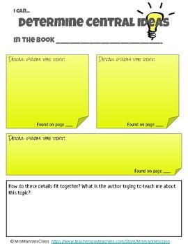 Central Idea Graphic Organizer
