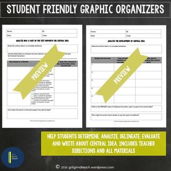 Central Idea Graphic Organizers