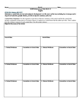 Central Idea Organizer CCSS RI.9-10.2