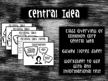 Central Idea Overview and Worksheet