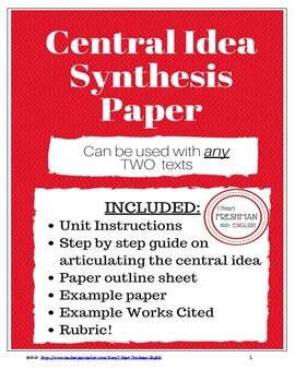 Central Idea Paper for ANY two texts- Freshman- TN Ready