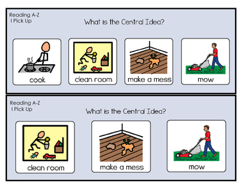 Central Idea - Reading A-Z books
