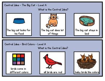 Central Idea - Reading A-Z level A books