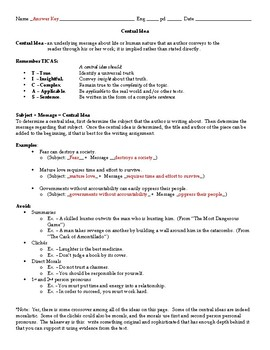 Central Idea Review Notes and Practice