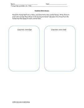 Central Idea Template [PARCC]