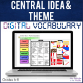 Central Idea & Theme DIGITAL Vocabulary - Distance Learning