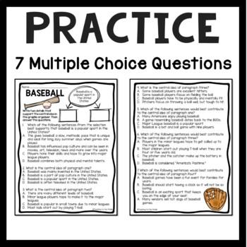 Central Idea Worksheet on Baseball, Middle School ELA Test Prep, 4-8