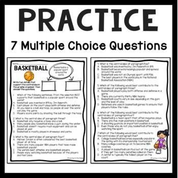 Central Idea Worksheet on Basketball, Middle School ELA Test Prep, 4-8