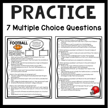 Central Idea Worksheet on Football, Middle School ELA Test Prep, 4-8