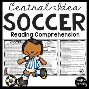 Central Idea Worksheet on Soccer, Middle School ELA Test P