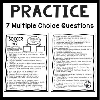 Central Idea Worksheet on Soccer, Middle School ELA Test Prep, 4-8
