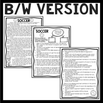 Central Idea Worksheet on Soccer, Middle School ELA Test Prep, 4-8