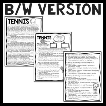 Central Idea Worksheet on Tennis, Middle School ELA Test Prep, 4-8