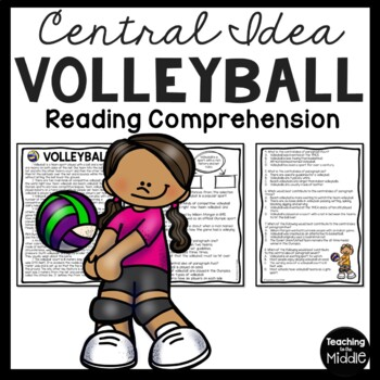 Central Idea Worksheet on Volleyball, Middle School ELA Test Prep, 4-8