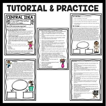 Central Idea Worksheets Bundle on Sports, Middle School ELA Test Prep, 4-8