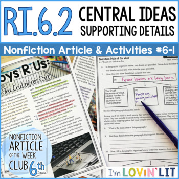 Central Idea and Details RI.6.2 | Toys R Us: The End of an Era Article #6-1