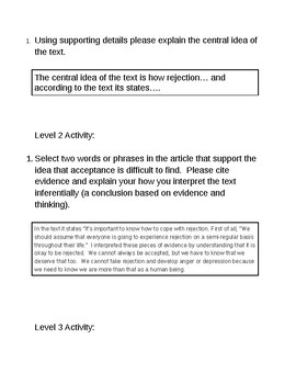 Central Idea and Objective Summary Activity