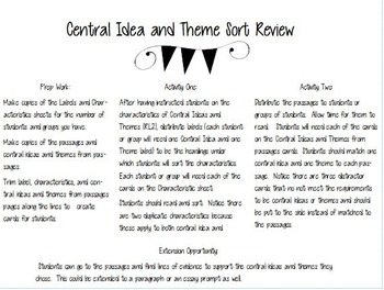 Central Idea and Theme Sort