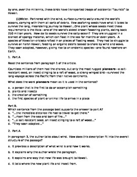 Central Idea and details Comprehension Passage