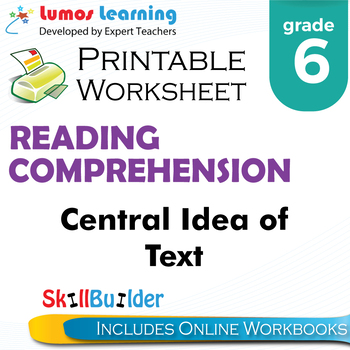 Central Idea of the Text Printable Worksheet, Grade 6