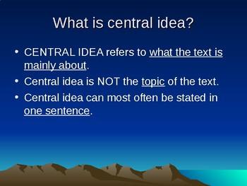 Central Idea vs. Theme PowerPoint